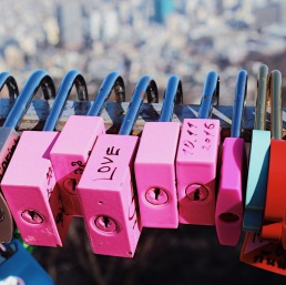 Photo taken at the Love Locks in N Seoul Tower.