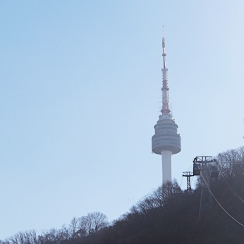 View of N Seoul Tower from the cable car.
