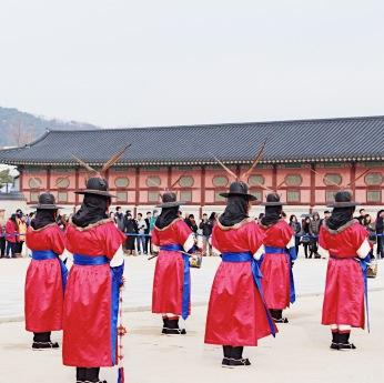 Changing of the Royal Guard at Gyeongbokgung Palace.